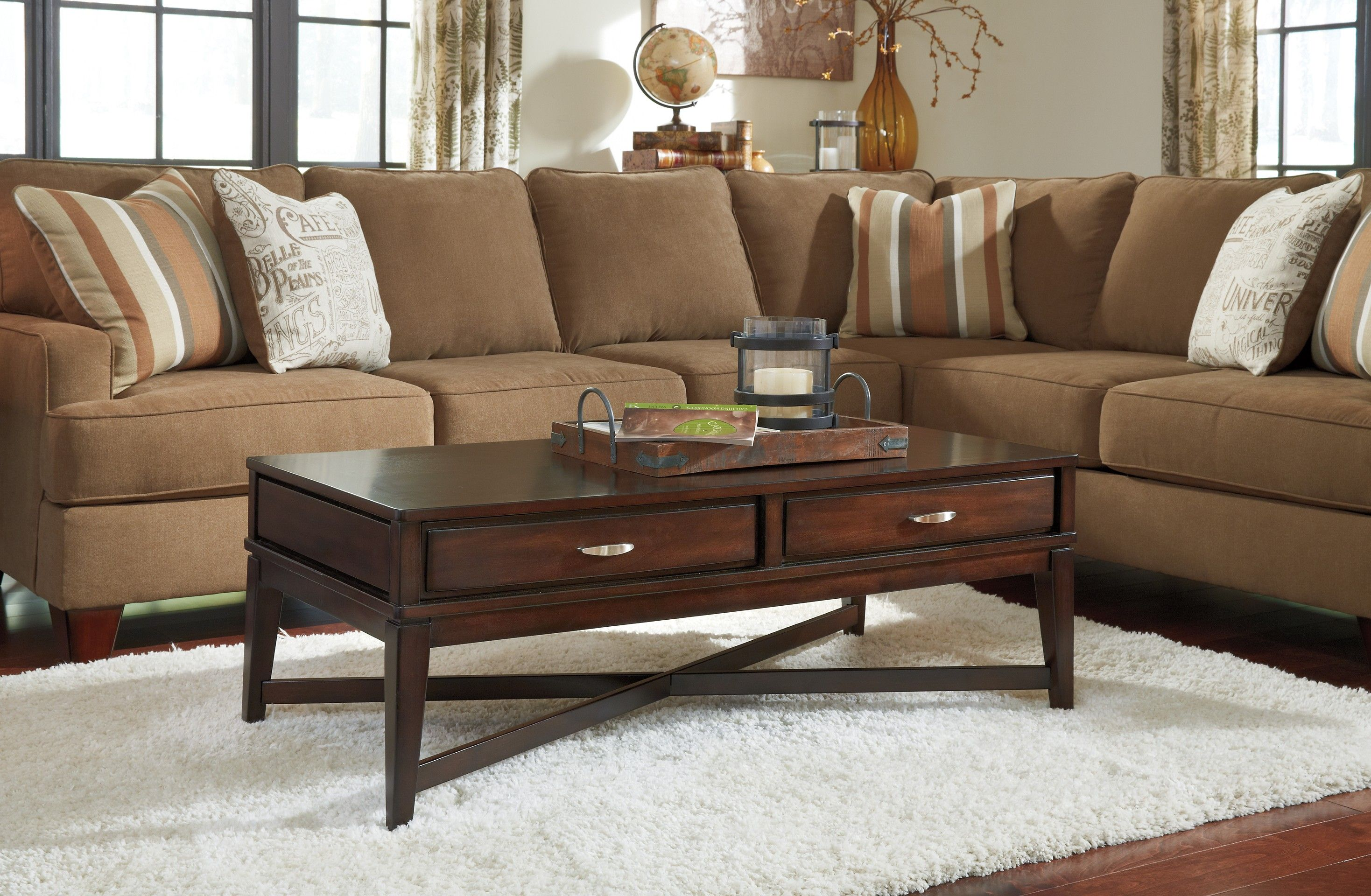 Ashley Dinelli T801 1 Signature Design Rectangular Cocktail Table Coffee Table Furniture Dining Room Table Set