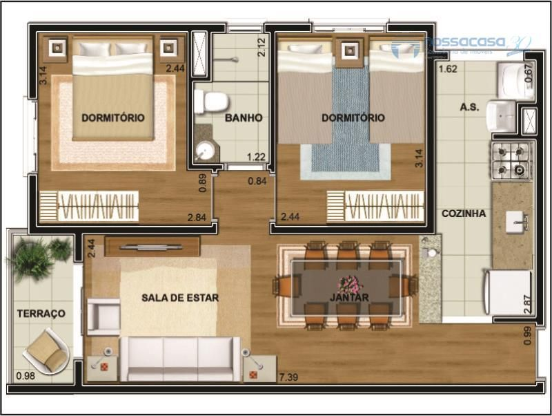 Planos de casas de menos de 50m2 pesquisa google bajo for Decoracion casa 50m2