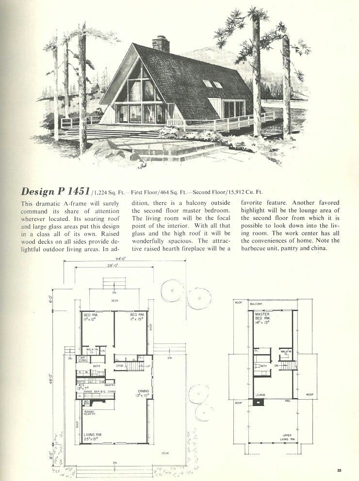 Vintage 1968 MidCentury A-Frame House Plans. technically they are ...