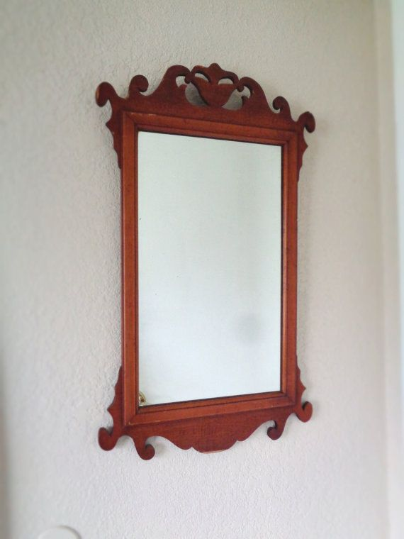 Large Vintage Chippendale Style Mirror Gorgeous Solid Wood With An Elegant Carved Design