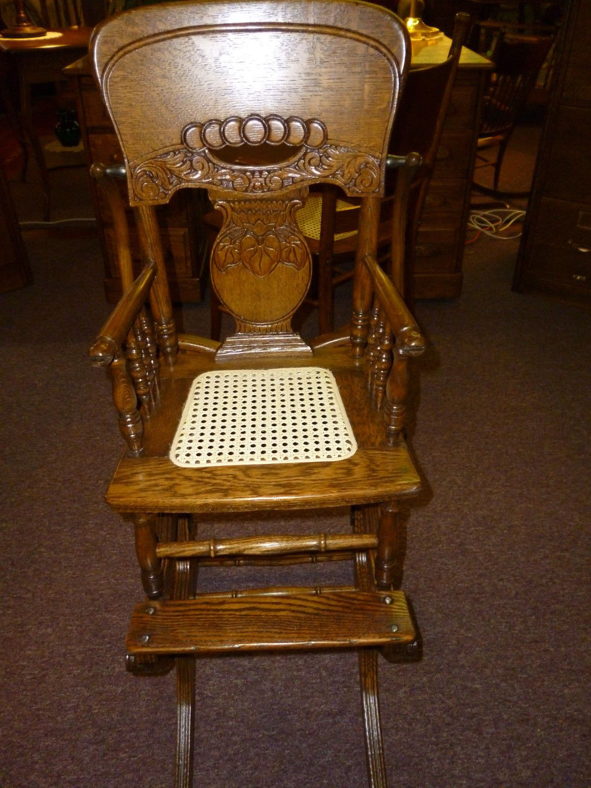 American Silver Original Antique Chairs | eBay - Antique Vintage Oak High Chair / Rocker Press Back Cane Seat Childs