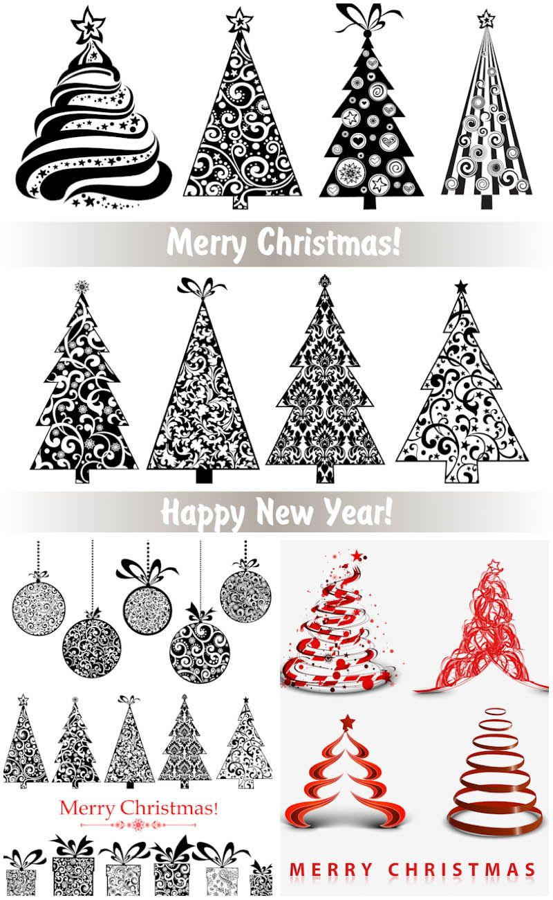 3 Sets Of 28 Vector Ornate Stylized Christmas Trees With Floral Ornaments  And Swirls, Balls