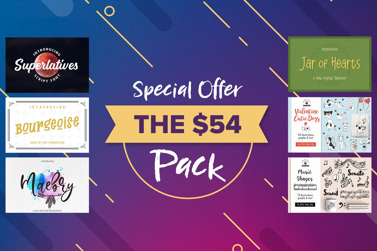 Download The 54 Pack By Font Bundles Store Available For 54 00 At Designbundles Net Font Bundles Design Bundles Store Design