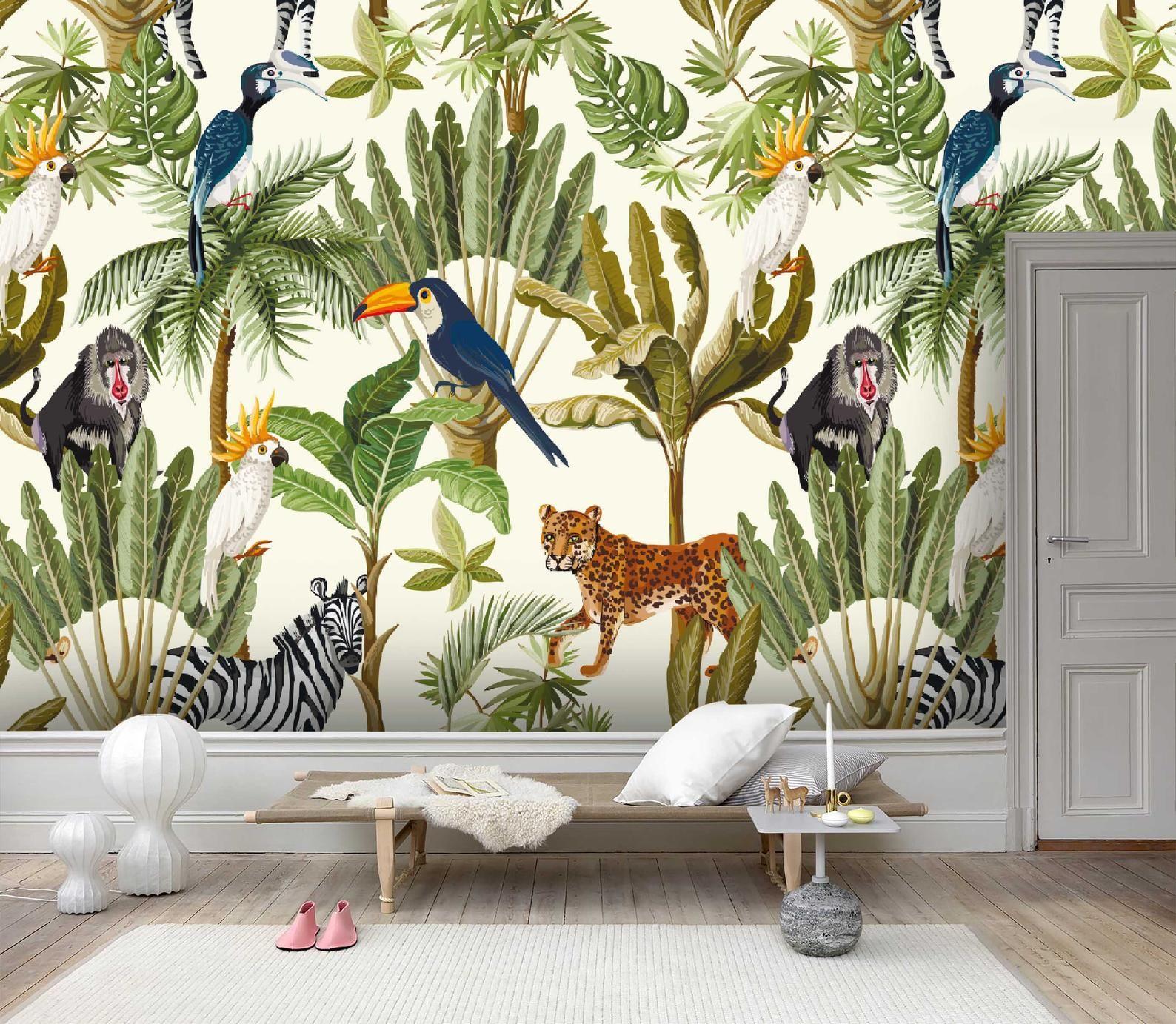 3d Tropical Jungle Toucan Wallpaper Mural Peel And Stick Etsy Wallpaper Mural Wallpaper Tropical Wall Decals