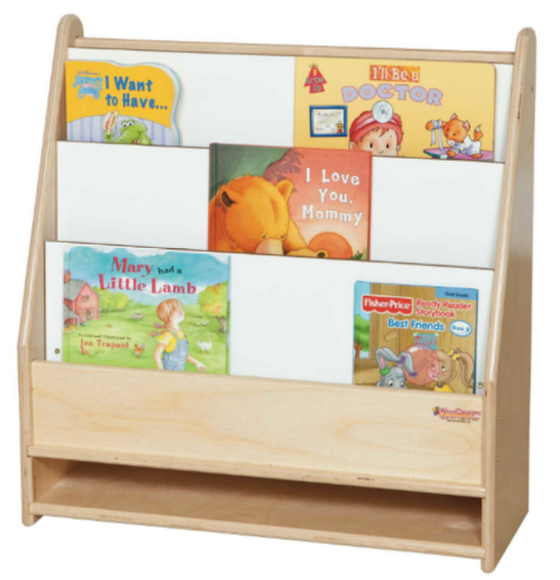 wooden toddler bookcase freestanding book display natural birch finish - Toddler Bookshelves