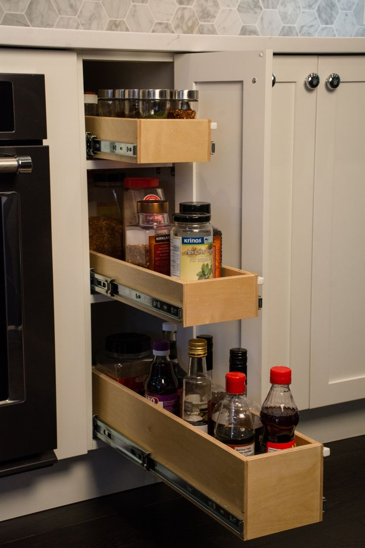 keep spices oils and vinegar close by the stove with these gliding shelves perfect for narrow on kitchen organization oil and vinegar id=37736