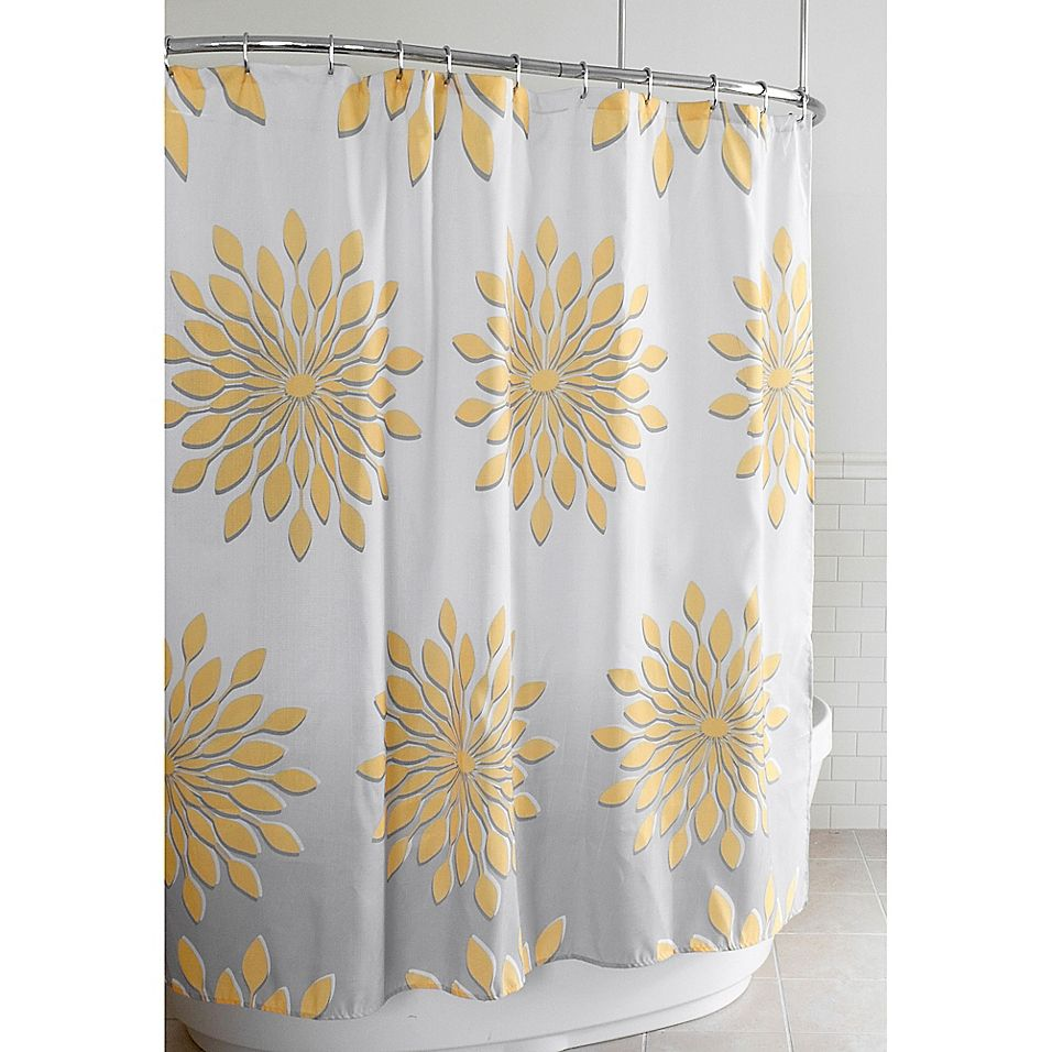 Extra Wide Medina Floral Shower Curtain In White Yellow Floral