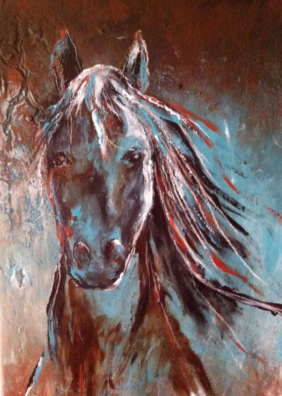 Abstract Contemporary Black Western Horse Art in turquoise ...