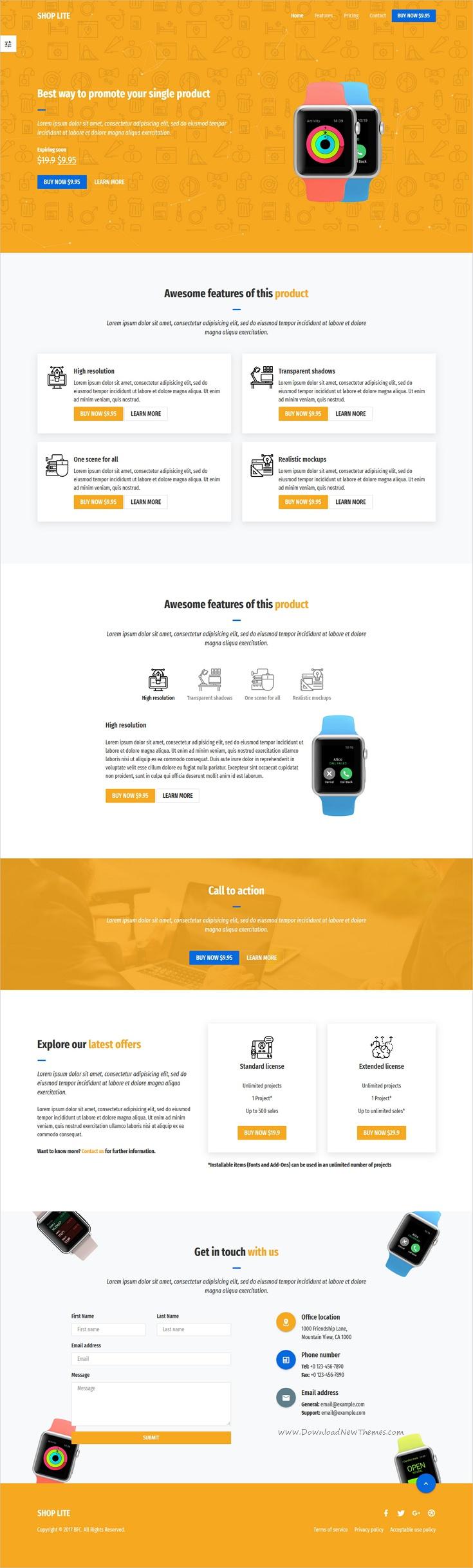 Shop Lite One Page Shop Template ECommerce Template And Website - Single product ecommerce template