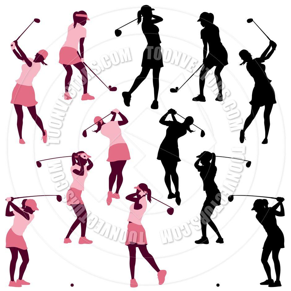 Women Golf Silhouettes Fabric Postcard Ideas Pinterest Ladies