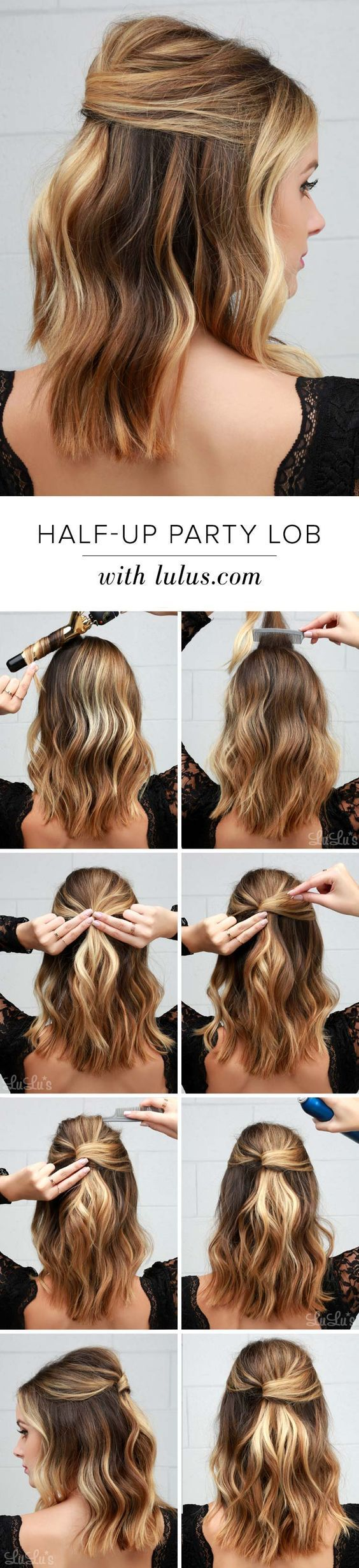 Easy Half Up Half Down Hairstyles Half Up Party Lob Hair Styles Long Hair Styles Medium Hair Styles