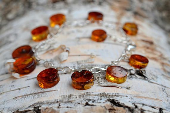 Natural Baltic Amber Bracelet with Sterling silver 925 claps Gemstone Jewelr