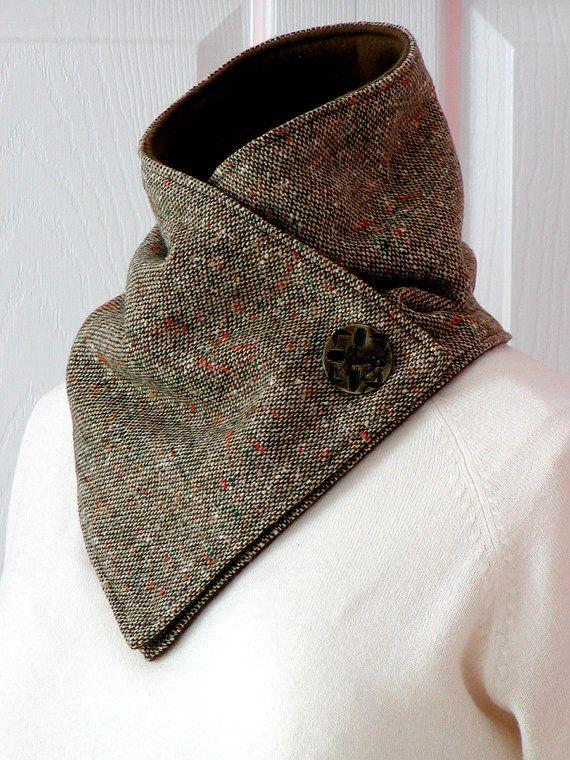 Unisex // Brown Wool Tweed & Fleece NECKWARMER // Cowl Scarf // Men ...