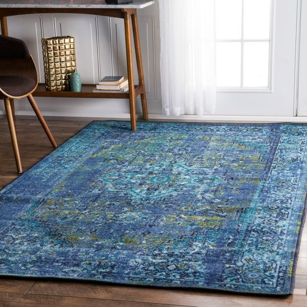 Lovely NuLOOM Traditional Vintage Inspired Overdyed Fancy Blue Rug (9u0027 X 12u0027)