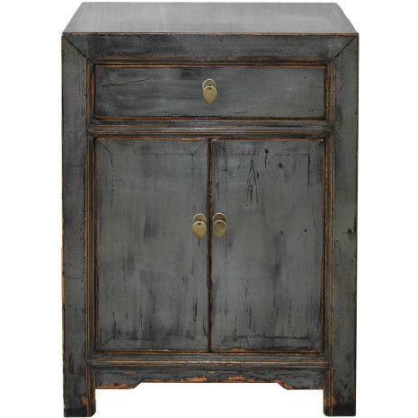 This dark, stormy gray lacquered side chest would look lovely in a ocean themed home.