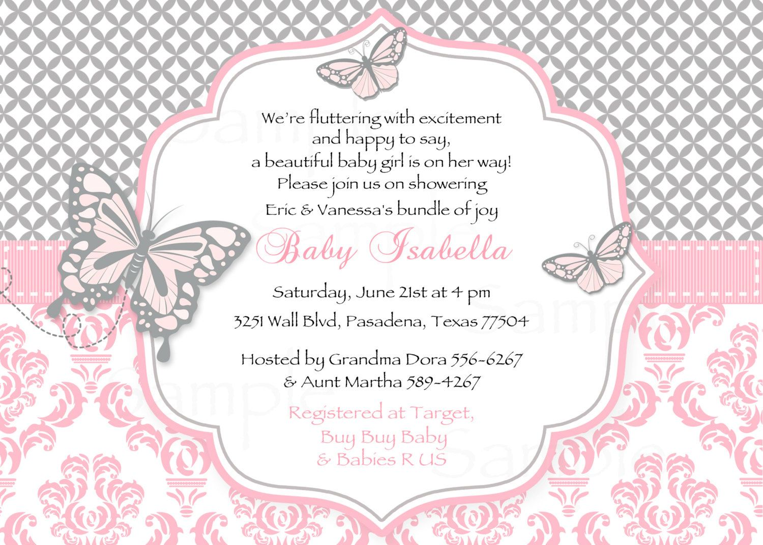 Erfly Pink And Gray Damask Baby Shower Invitation Lambs