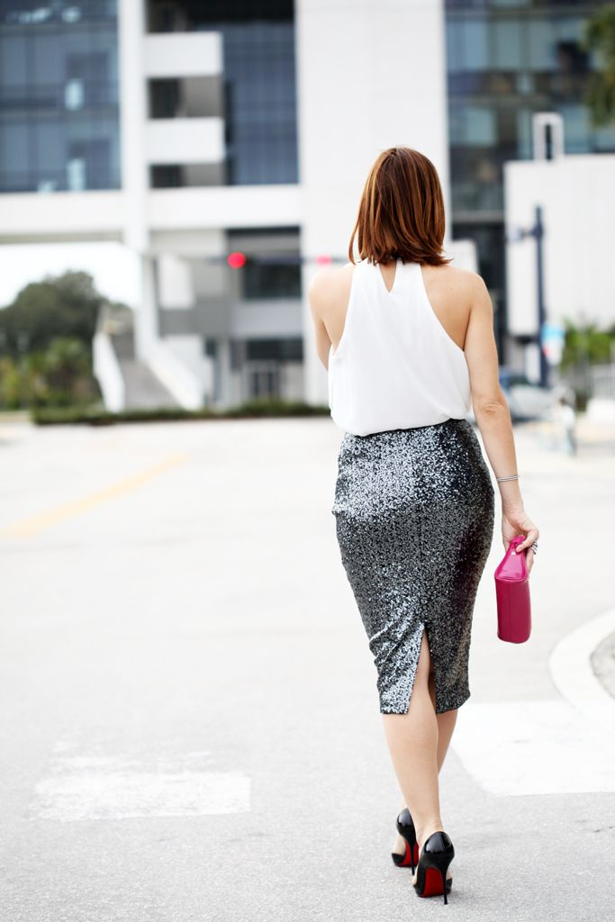 fe3b4431c6 Blame it on Mei Miami Fashion Blogger 2016 Wedding Guest Outfit Idea Formal  Wear Look Inspiration Sequin Pencil Skirt Gucci Fuchsia Clutch Louboutin  Iriza ...