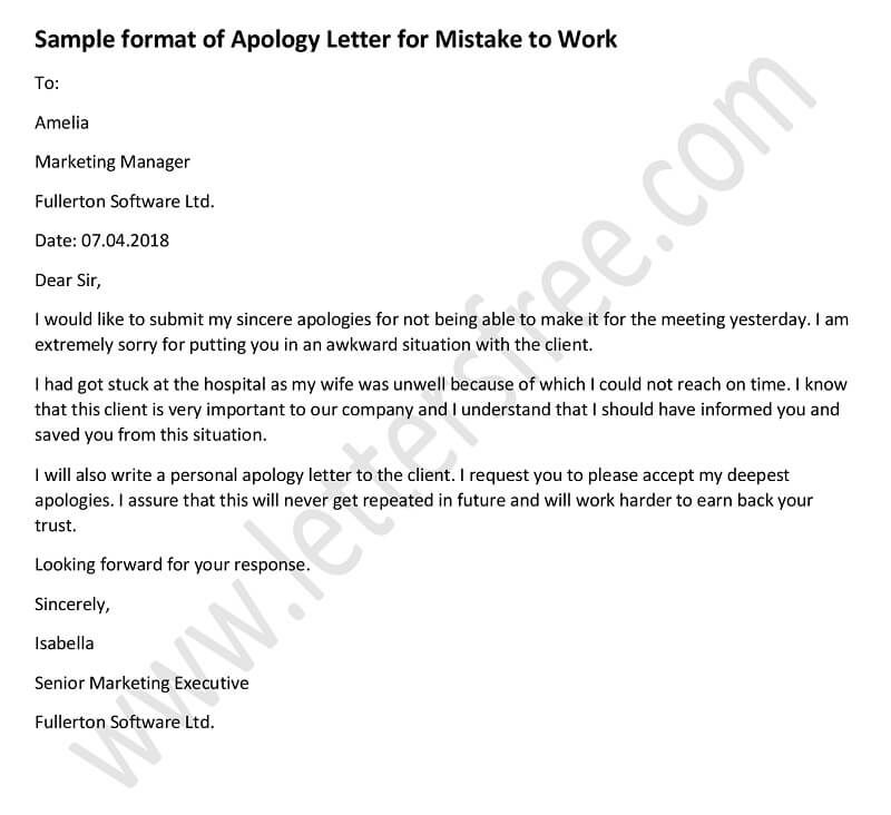Sample Apology Letter To Teacher \u2013 7+ Download Free Documents In