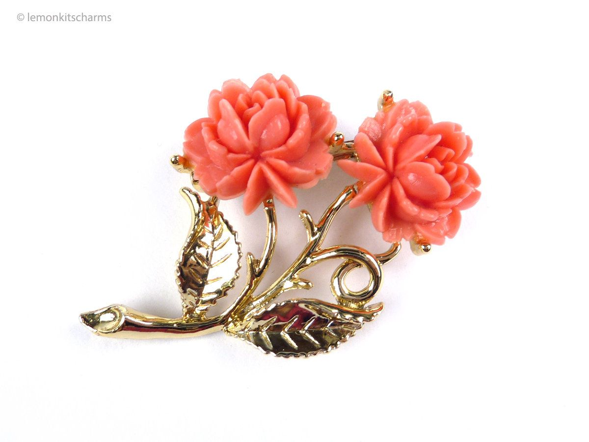 Rose Floral Pink Coral Celluloid Pendant Vintage Coral Celluloid Rose Pendant