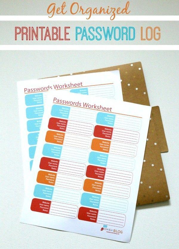 Printable Password Log Tracker | Kalender, Arbeitszimmer und Bastelideen