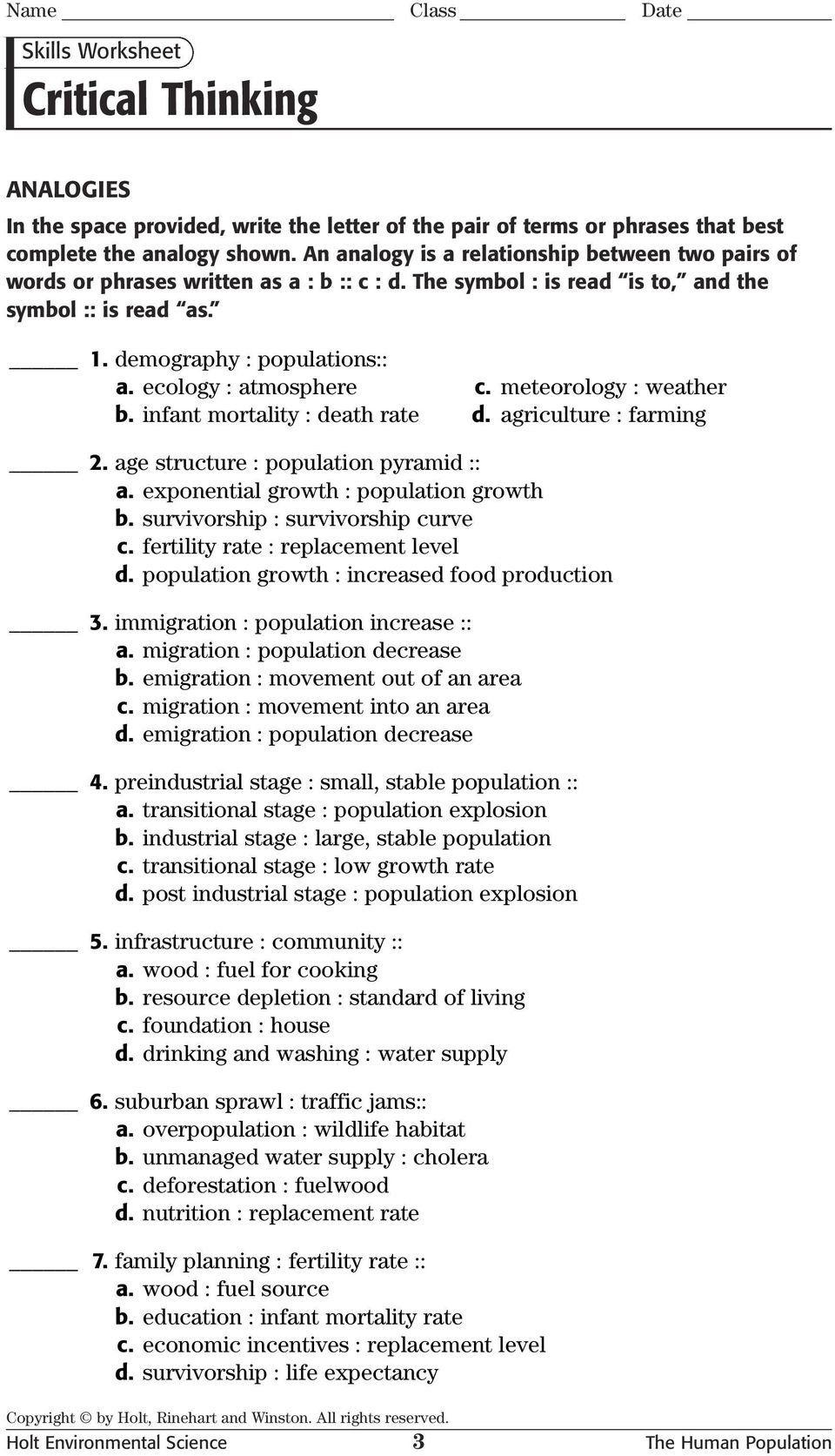 Skills Worksheet Critical Thinking Analogies Critical Thinking Text Features Worksheet Science Skills