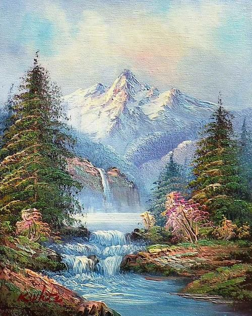 Paintings Landscape With Waterfall By K White Oil On Canvas For Sale In Johannesburg Id 254028228 Landscape Paintings Landscape White Painting