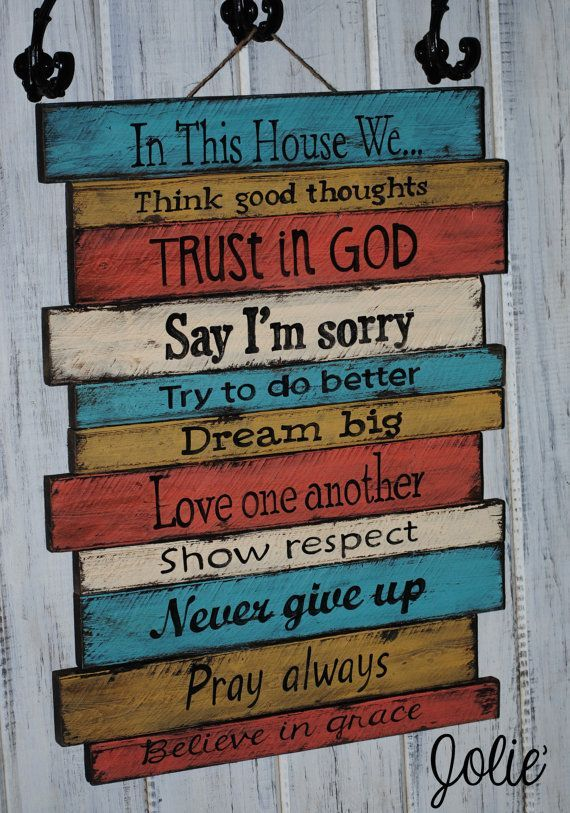 Painted Wood Signs With Sayings In This House Wooden Sign Hand