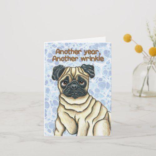 Pug Birthday Card Zazzle Com Birthday Cards Dog Cards Birthday Pug