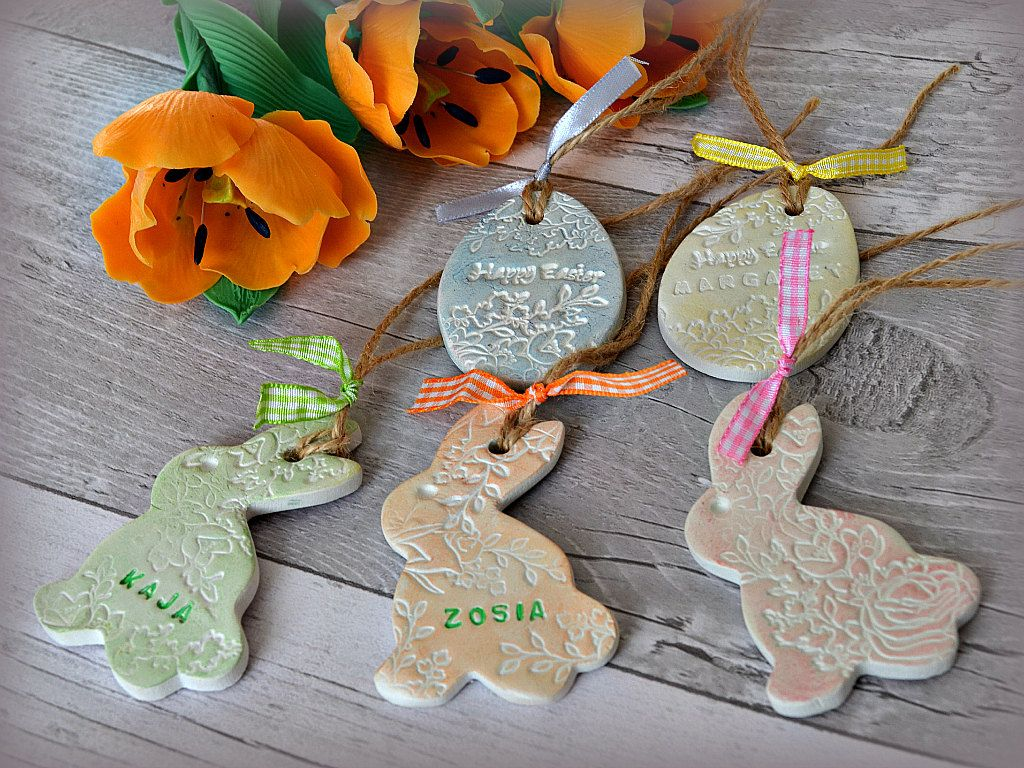 Easter decoration clay gift tags personalised easter bunny name easter decoration clay gift tags personalised easter bunny name tags twig tree ornaments negle Image collections