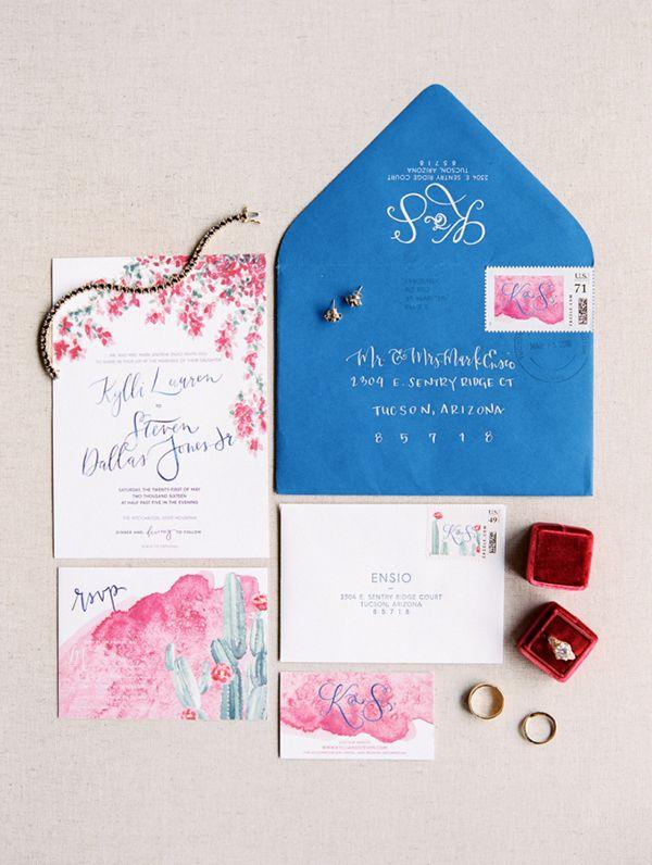 Vibrant Pink and Blue Invitation Suite | Rachel Solomon Photography | http://heyweddinglady.com/colorful-preppy-wedding-pink-blue/