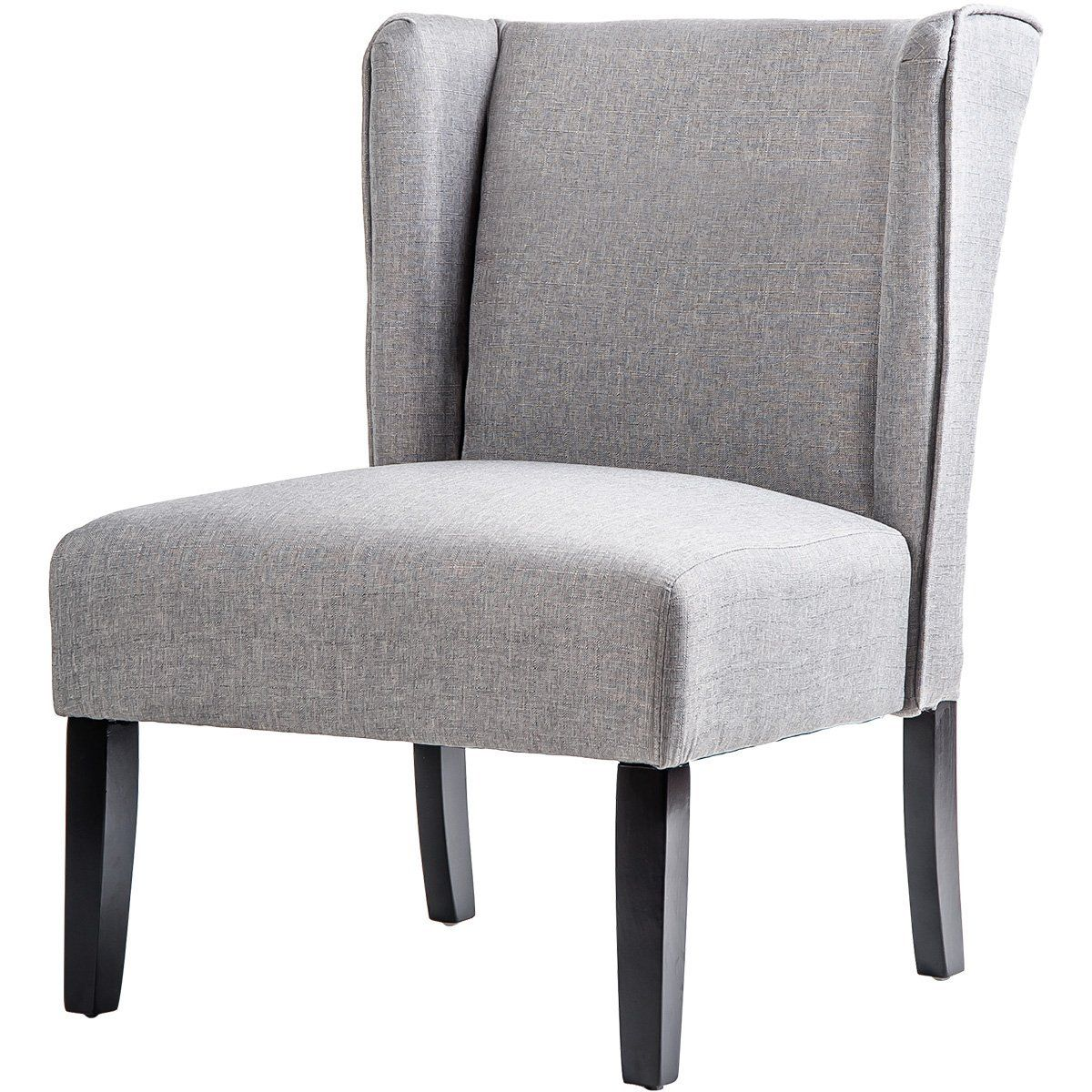 white gray solid wood office. Amazon.com: Merax Stylish Contemporary Upholstered Wingback Accent Chair With Solid Wood Legs ( White Gray Office