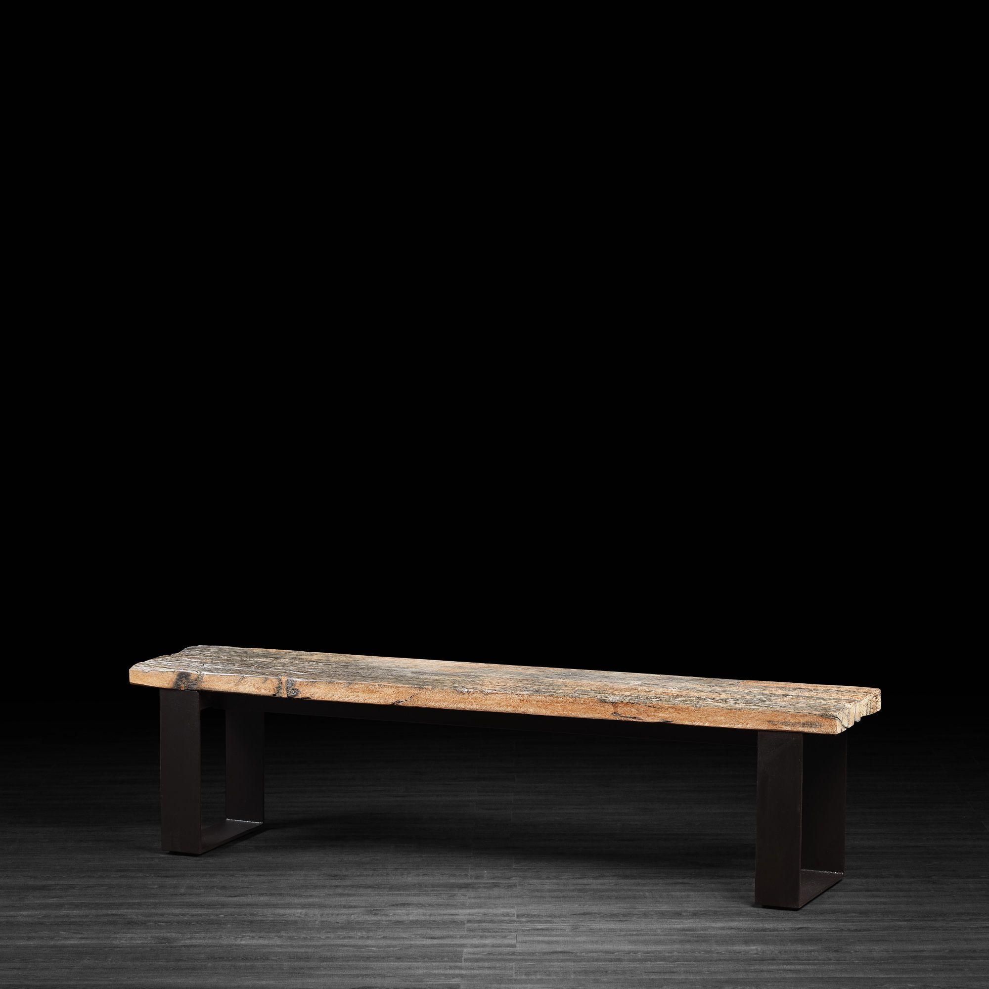 Banc En Bois Recycl Avec Pattes En M Tal At Home Furniture Store Bench Wood