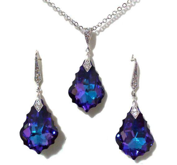 Purple Blue Bridesmaid Jewelry Set Teardrop Bridesmaids Gifts