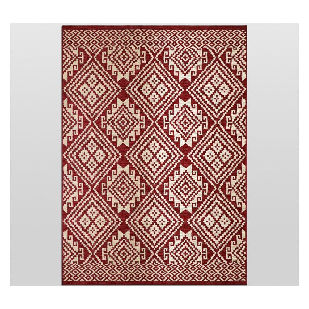 Global Grid Red Outdoor Rug 5 X7