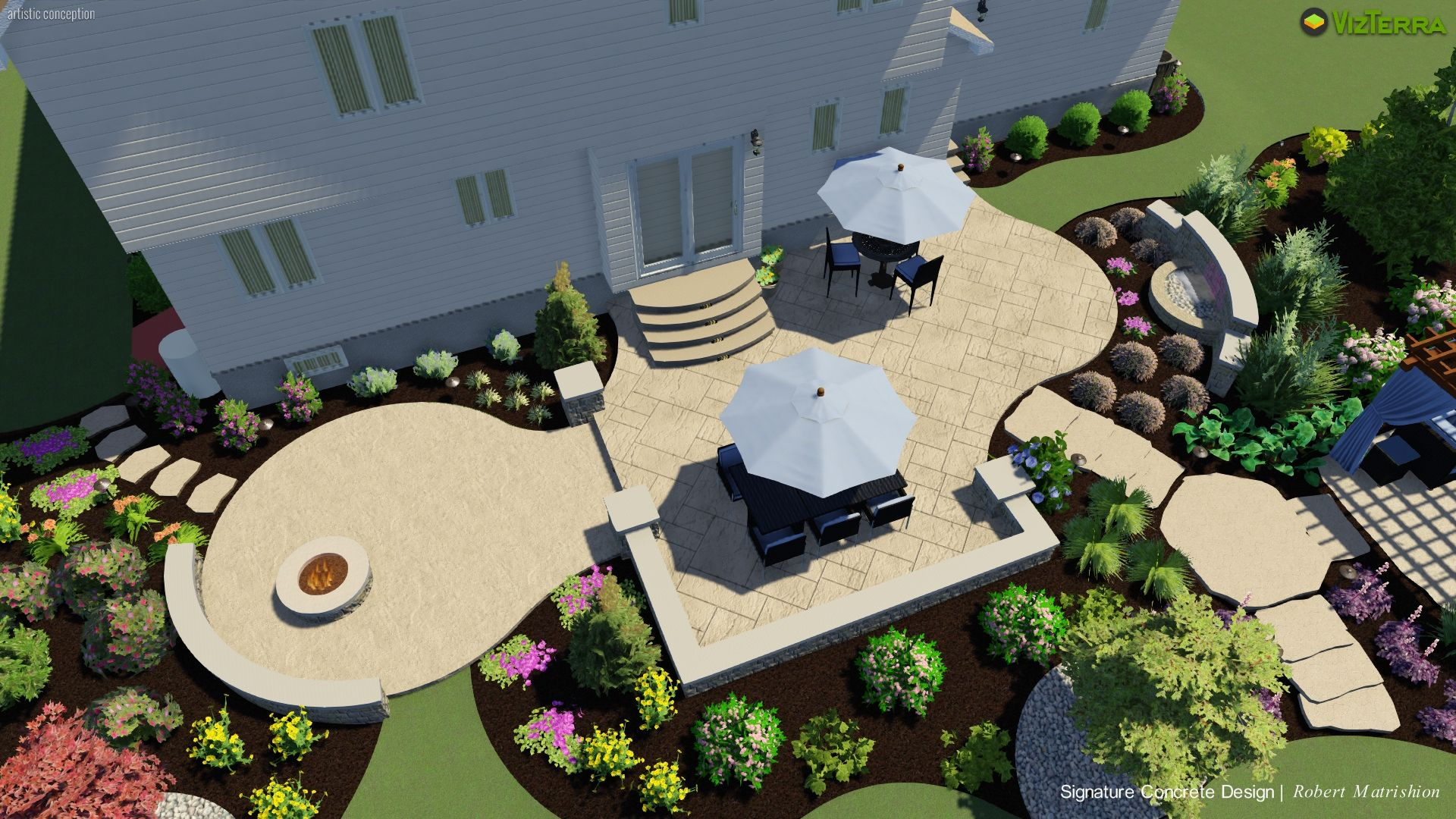 Backyard Idea And Patio Design Of A Two Tier Stamped