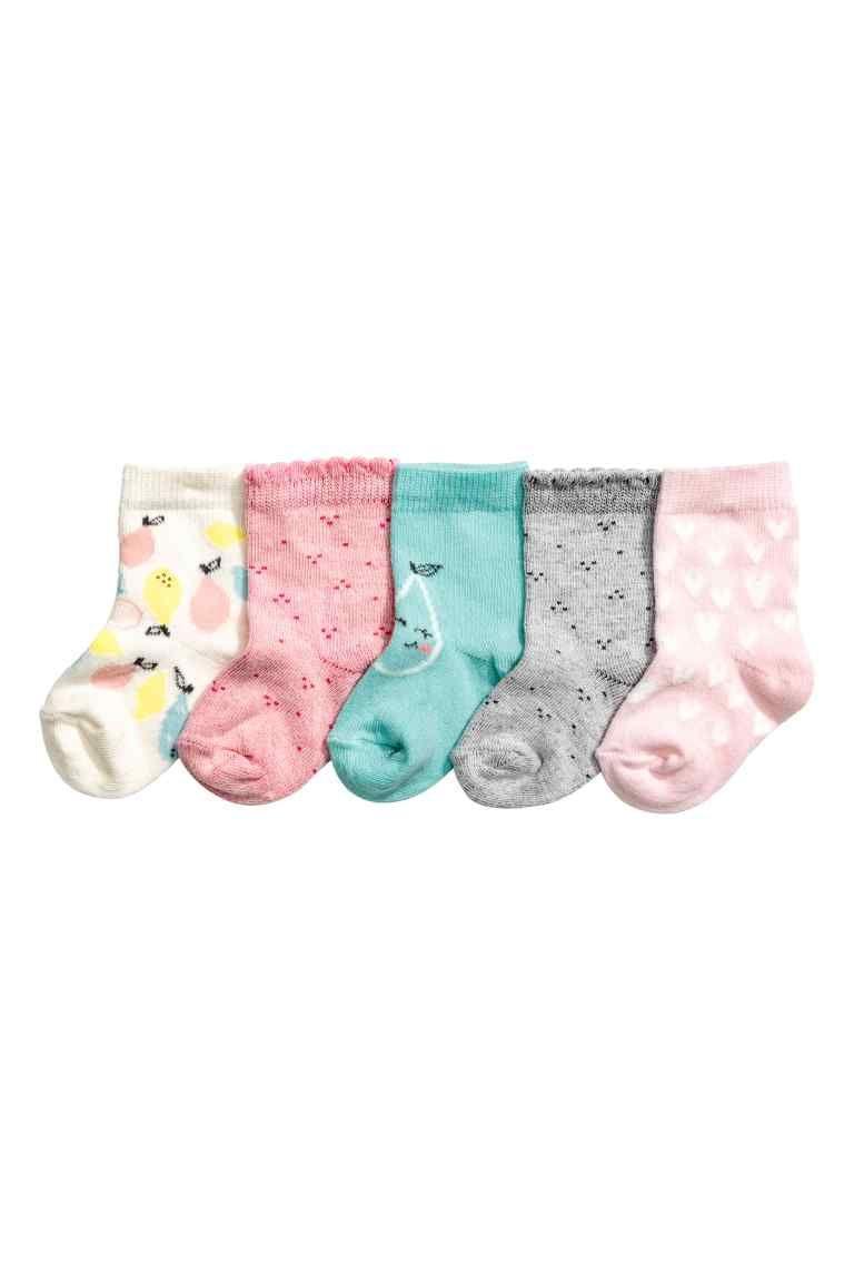 5 paria sukkia - Vaaleanroosa/Sydämet - Kids | H&M FI 1