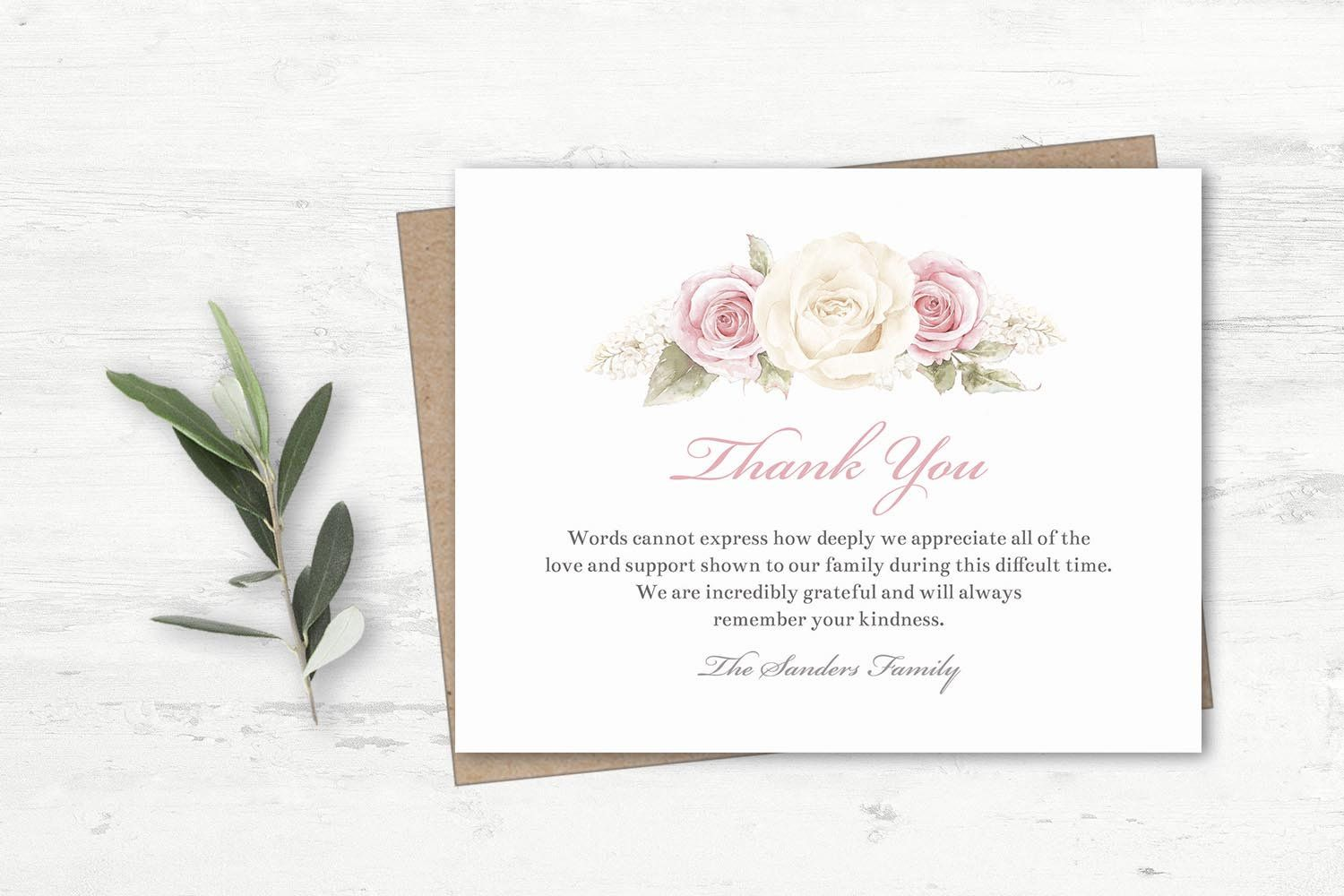 Funeral Acknowledgement Card Template Sympathy Thank You Note Etsy Sympathy Thank You Notes Funeral Cards Funeral Invitation