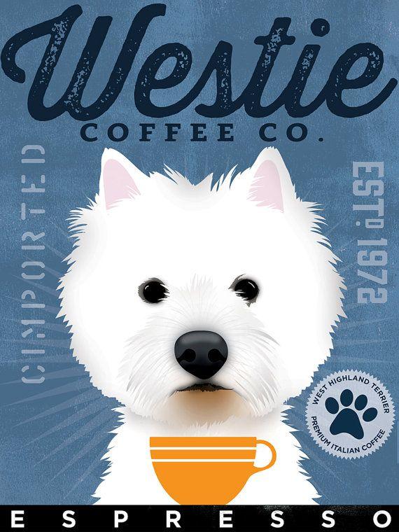 West Highland Terrier Westie Coffee Company Original Graphic Etsy Westies Westie Dogs West Highland Terrier