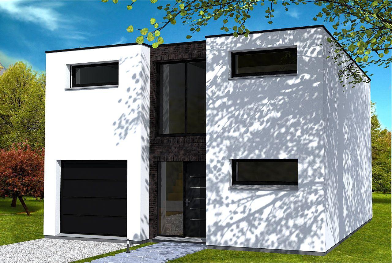 Maison moderne cubique, étroite pour centre ville. Briques noires ...