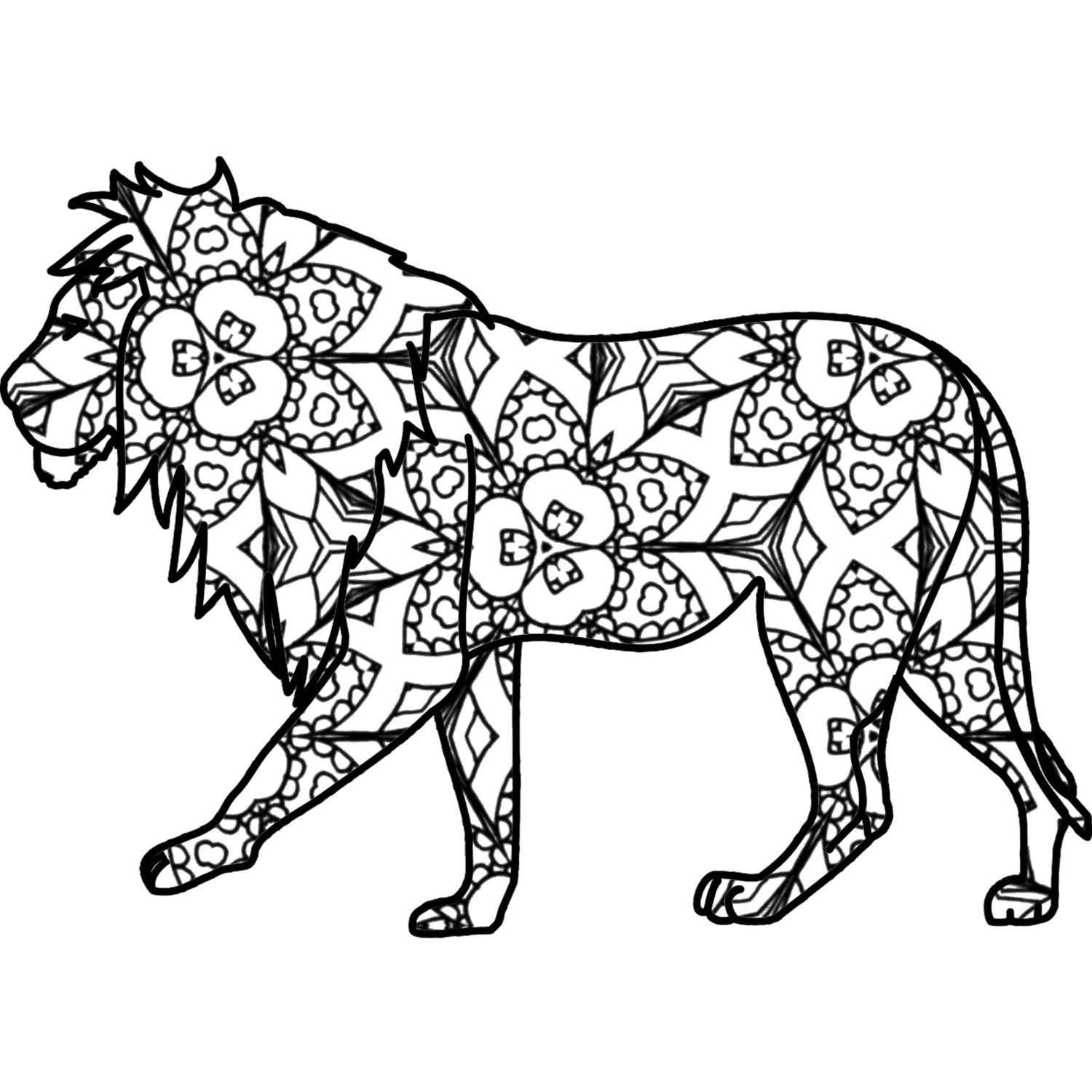 Lion Adult Coloring Page Printable PDF By ThinkPrintableArt