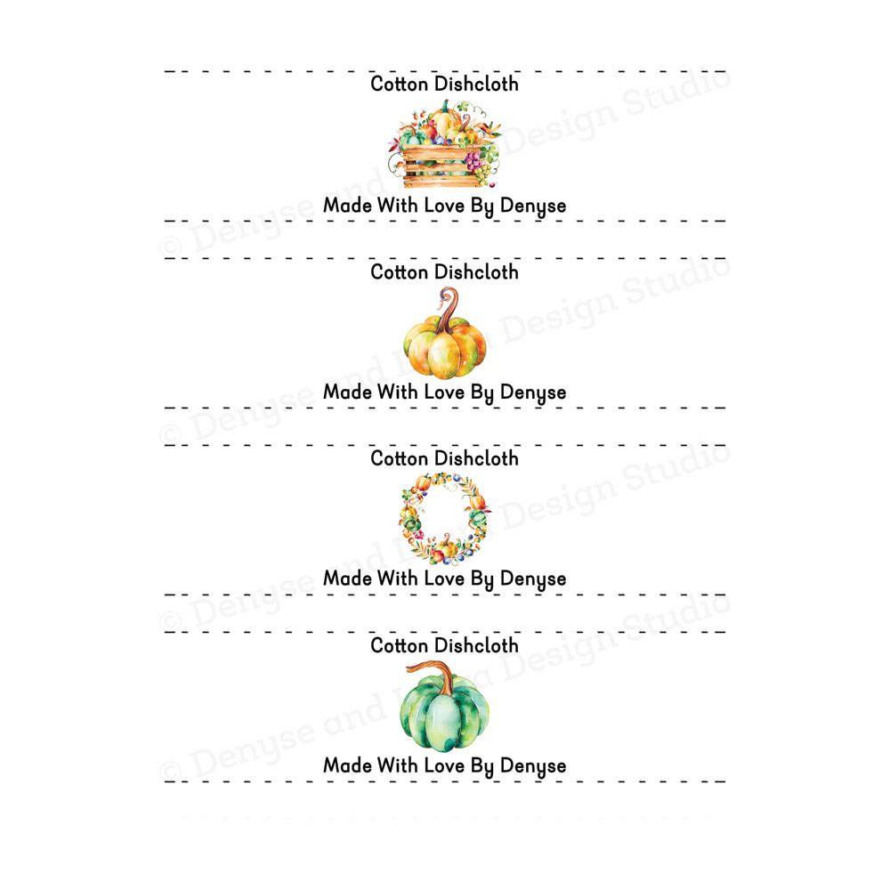 Autumn Bouquet Dishcloth Labels, Packaging Crochet Wraps