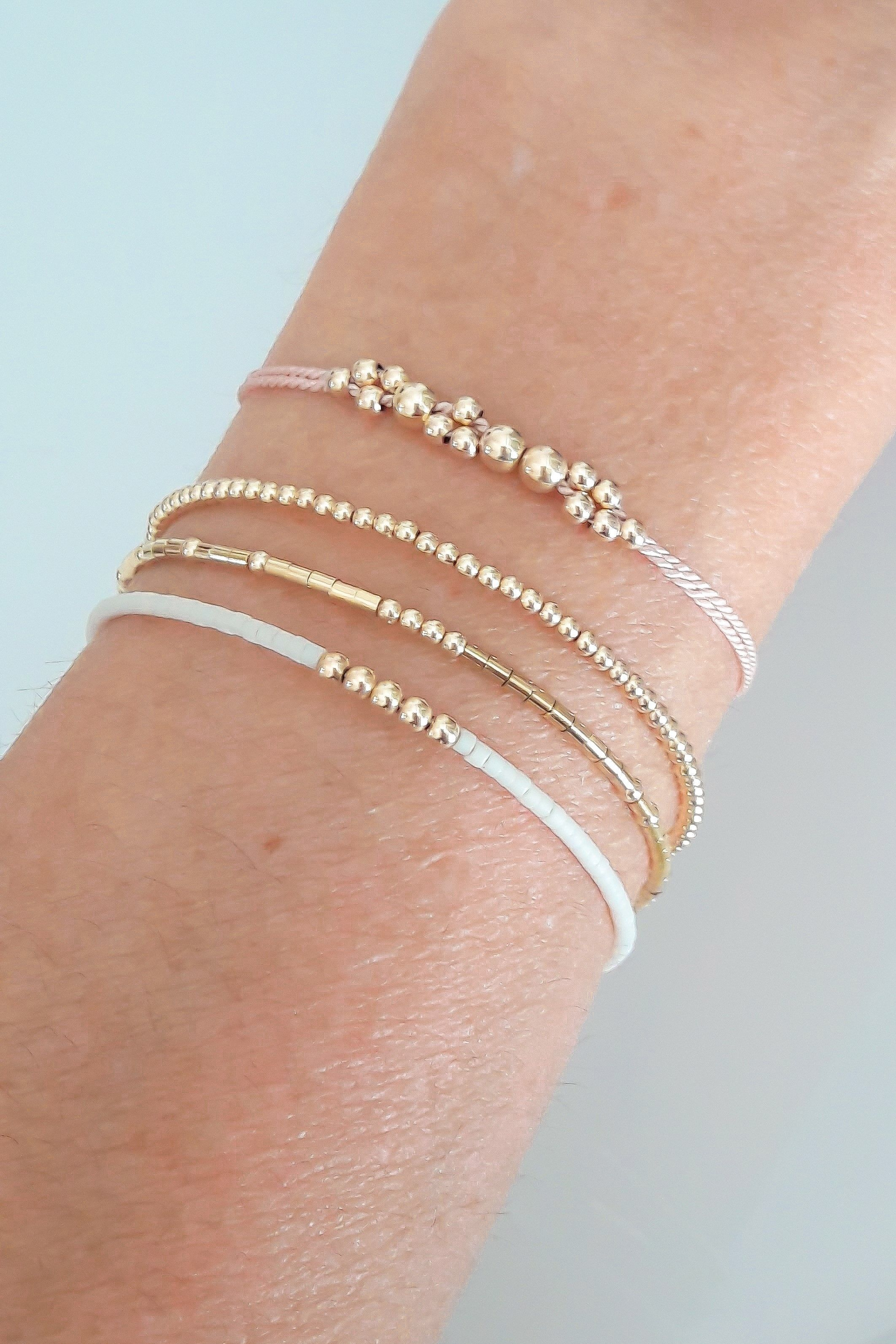 delicate gold pearl bracelet bangle rose pin