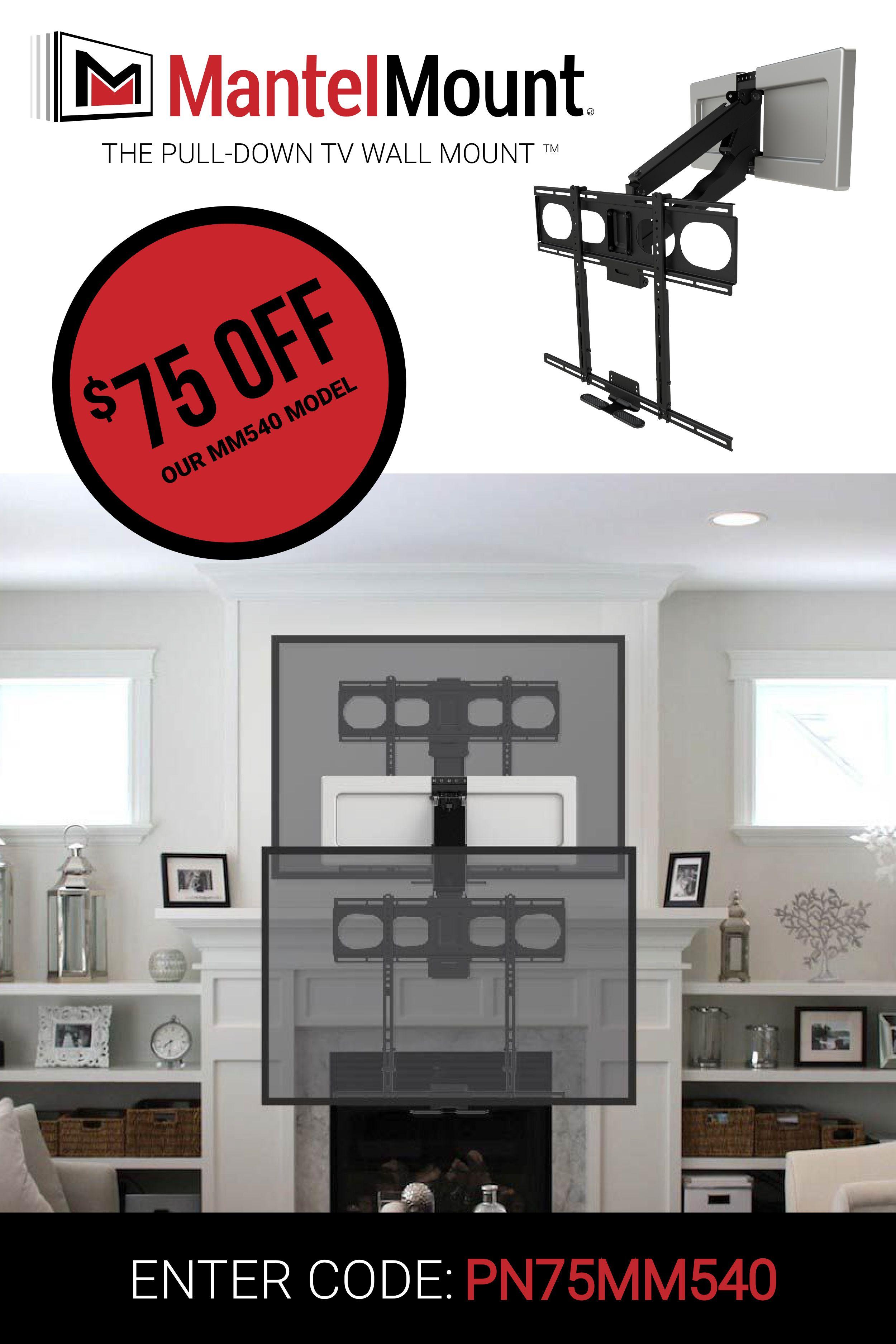 Mm540 Enhanced Pull Down Tv Mount Tv Mount Over Fireplace Living Room Remodel Fireplace Design