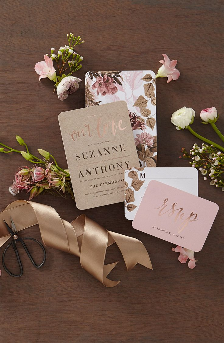 Swoon over new stylish invites Blooming back of card designs