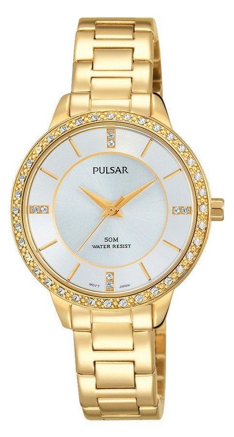 de838fabf72 Pulsar Dameshorloge Goudkleurig & Swarovski PH8218X1. Een elegant horloge.  Dit model heeft een goudkleurig
