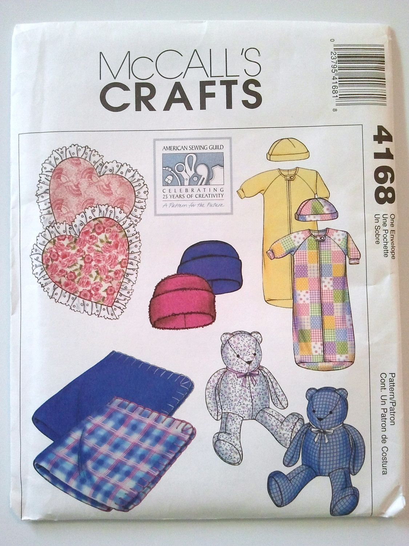McCalls 4168, Baby Blanket, Pillow, Bear, Bunting, Cap, Hat, Sewing ...