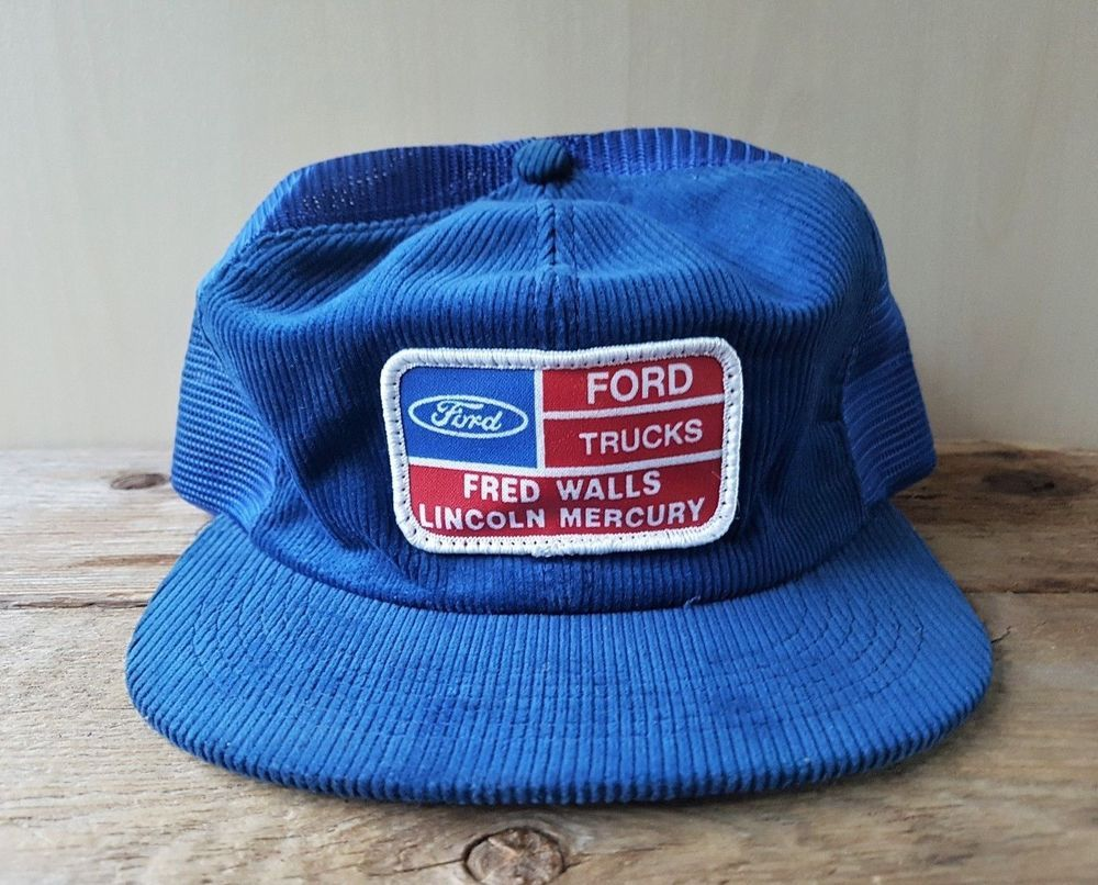 Vintage 80s Ford Trucks Corduroy Mesh Trucker Hat Snapback Cap K Products Canada In 2020 Mesh Trucker Hat Corduroy Vintage Cap