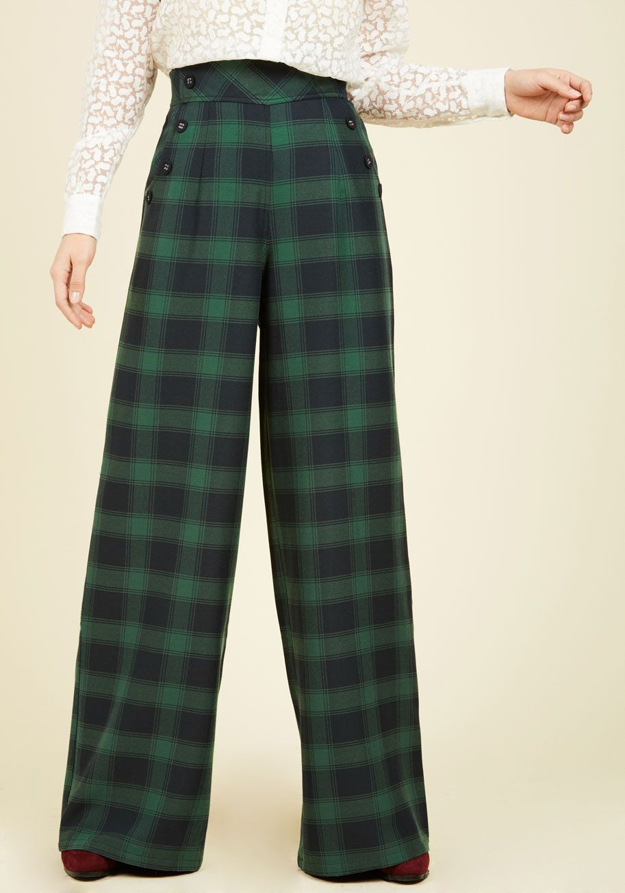 Care to Converse Pants. Your surefire way to nail the networking event begins with these plaid pants.  #modcloth
