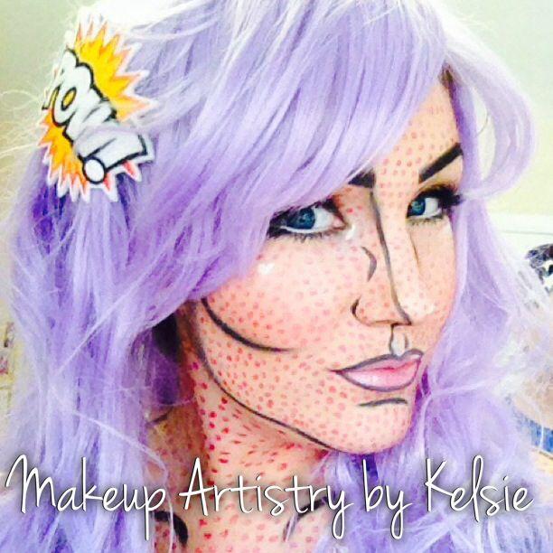Pop art. Makeup. Comic book character. Lavender. Wig. Halloween ...