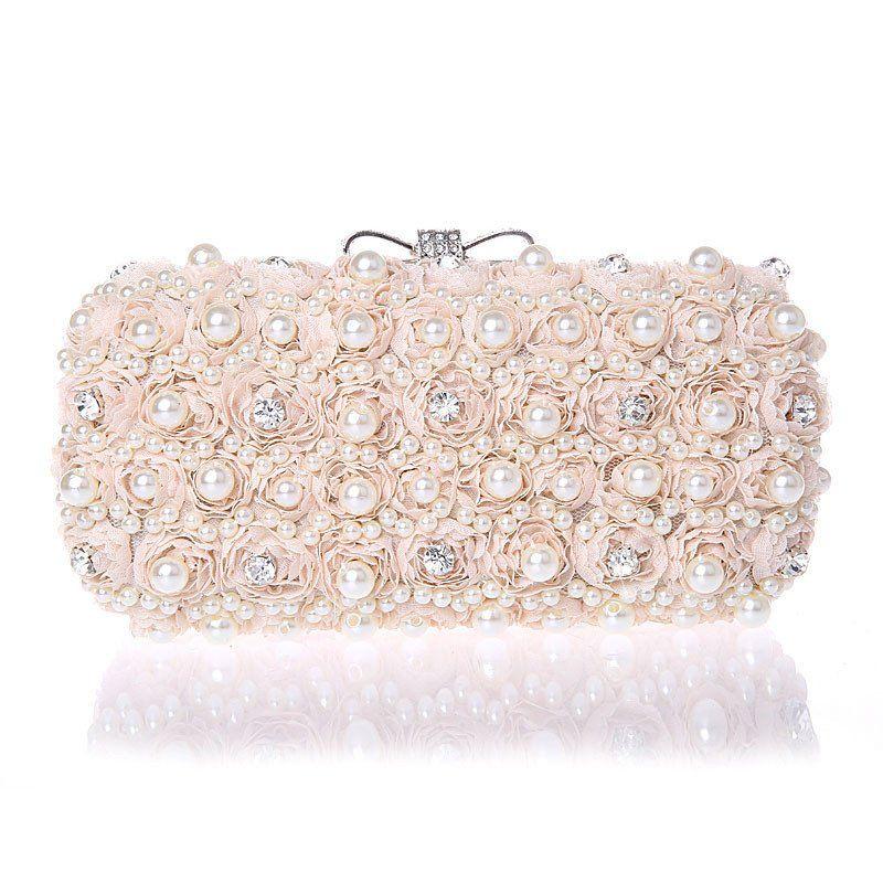 White Flowers Beaded Woman Evening Bag   Clutch Handbag – Premium Luxury  Clutches   Purses 830cd0ed5671